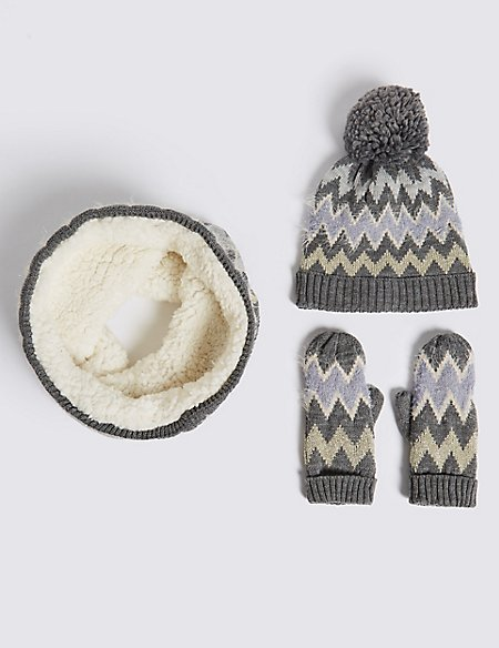 Kids' Hat & Snood with Mittens Set