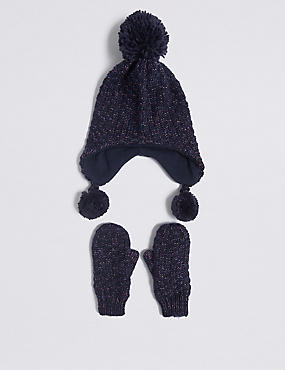 Kids' Trapper Hat & Mittens Set