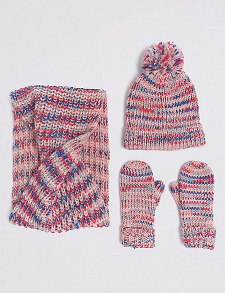 Kids' Hat, Snood & Mitten Set