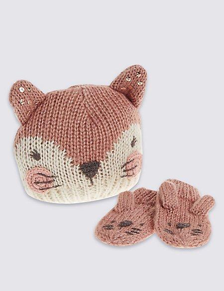 Kids' Animal Hat & Mittens Set (3 months - 6 Years)