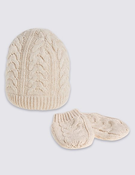 Kids' Oatmeal Cable Hats & Gloves Sets