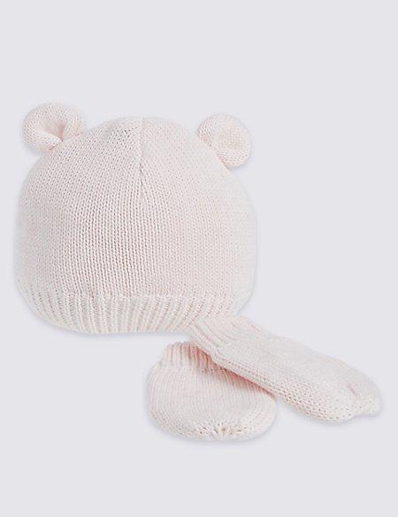 Kids' Pink Ears Hats & Gloves Sets