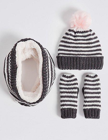 Kids' Hat, Snood & Mittens Set