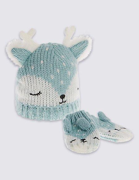 Kids' Reindeer Hat & Mittens Set