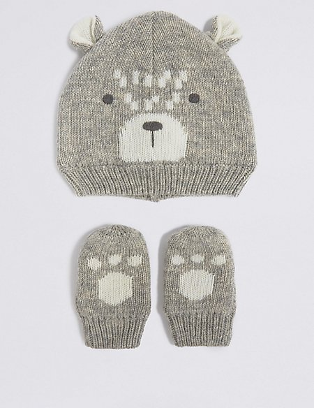 Baby Novelty Hat & Mittens Set