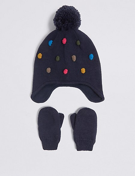 Kids' Pom-pom Trapper Hat & Mittens Set