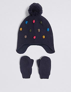 Kids' Pom-pom Trapper Hat & Mittens Set
