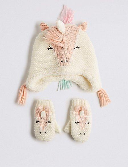 Kids' Unicorn Trapper Hat & Mittens Set
