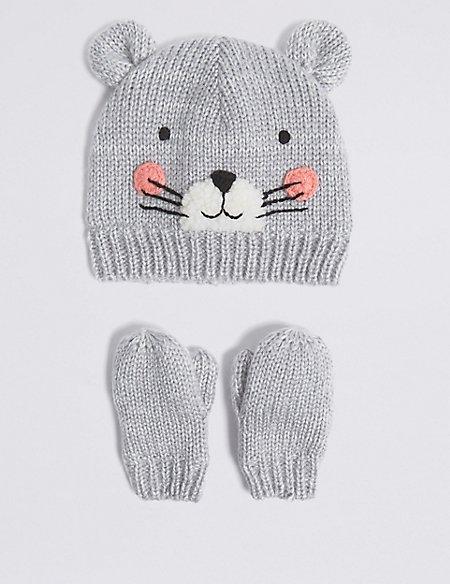 Kids' Mouse Hat & Mittens Set