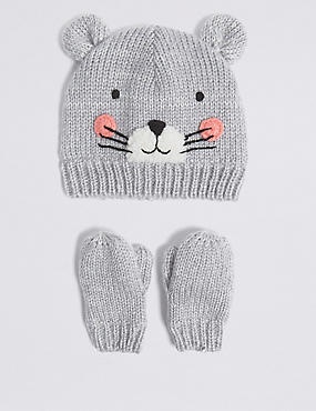 Kids' Mouse Hat & Mittens Set