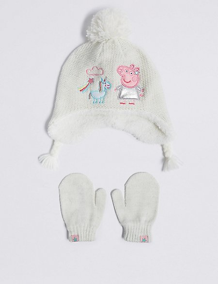 Kids' Peppa Pig™ Trapper Hat & Mittens Set