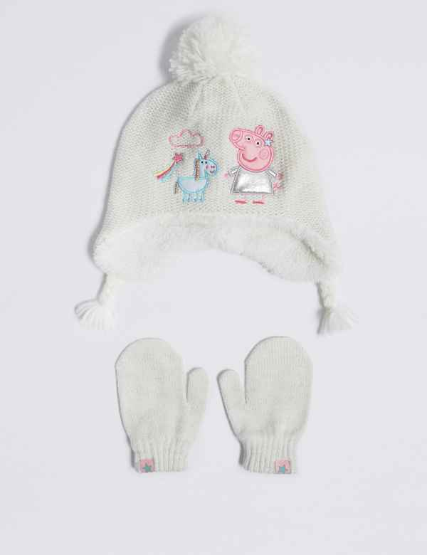 03563dc1705 Kids  Peppa Pig™ Trapper Hat   Mittens Set