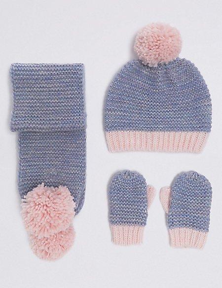 Kids' Hat, Scarf & Mitten Set