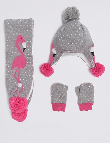 Kids' Flamingo Hat & Scarf with Mittens Set