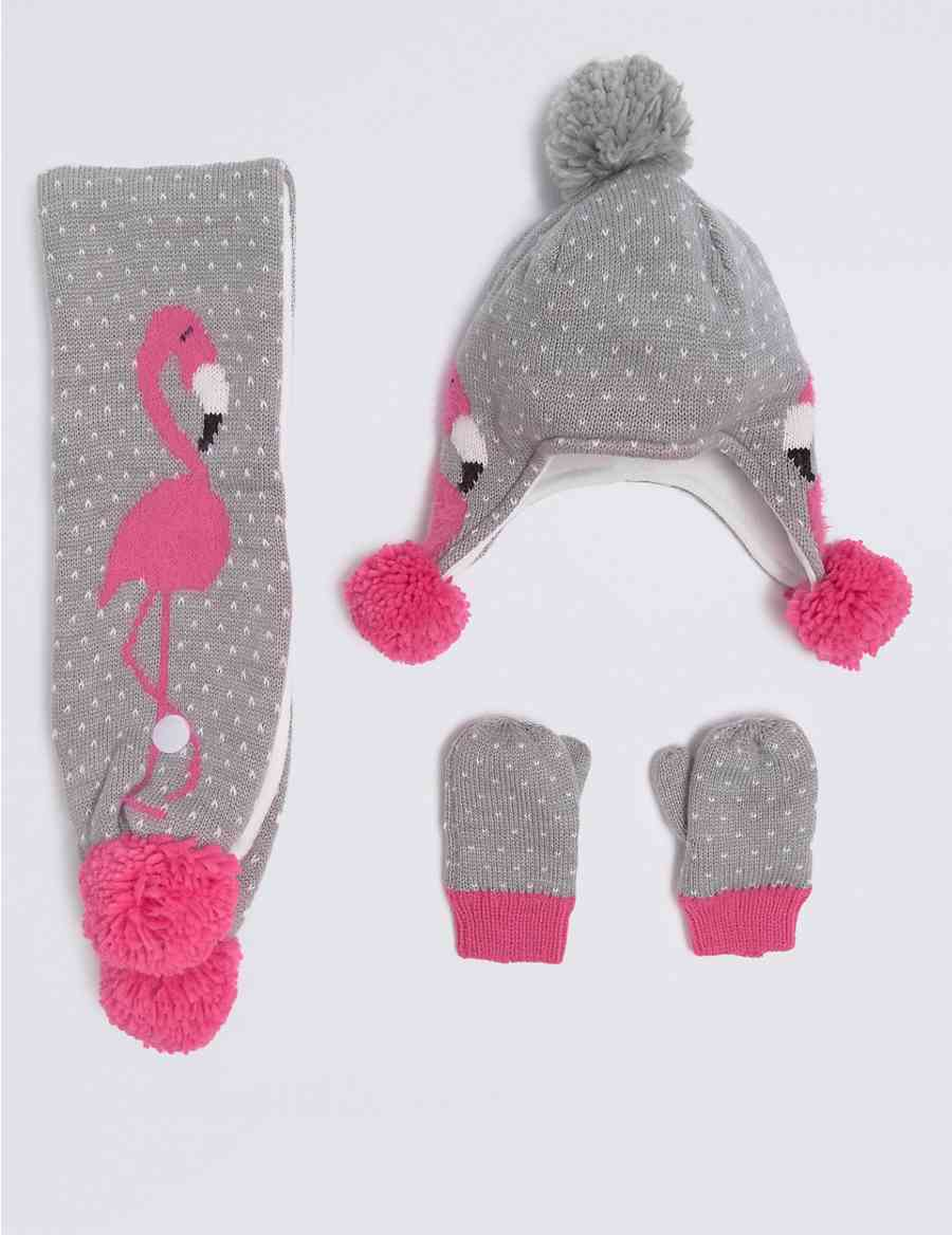 Kids\' Flamingo Hat & Scarf with Mittens Set | M&S