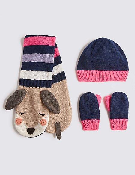 Kids' Sausage Dog Hat, Scarf & Mitten Set
