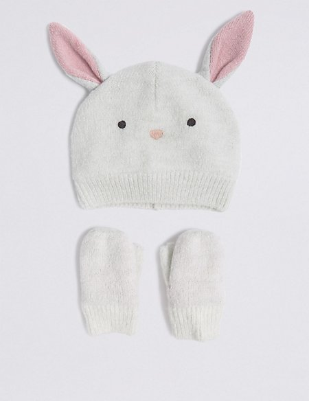 f0903e1a5fd Product images. Skip Carousel. Kids  Bunny Hat   Mittens Set