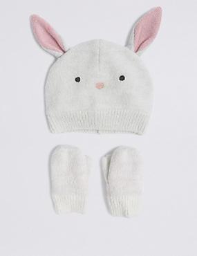 Kids' Bunny Hat & Mittens Set
