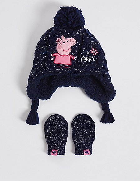 4bbf12a92ba97 Kids Peppa Pig Hat Scarf Gloves Set Grey)