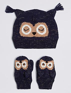 Kids' Novelty Owl Hat & Mittens Set