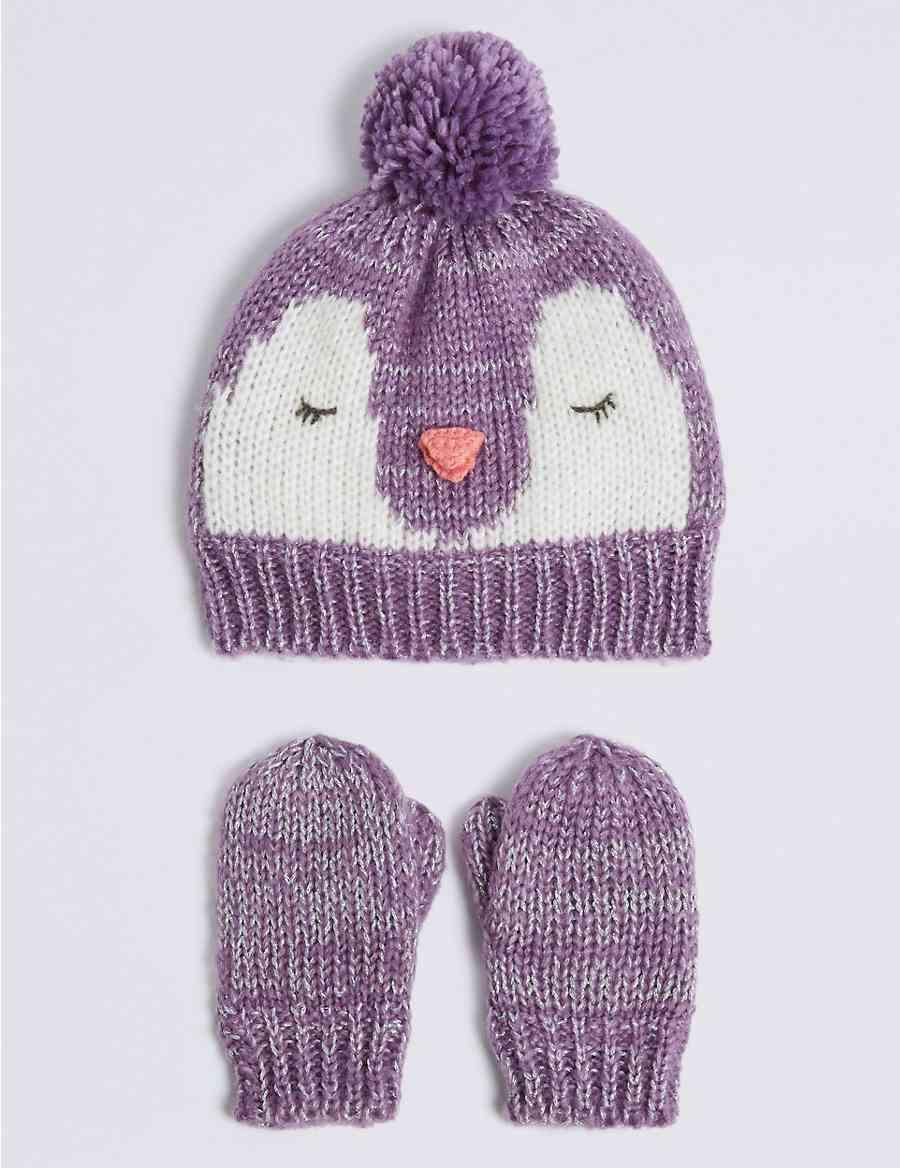 Kids Novelty Penguin Hat Mittens Set Ms