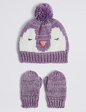 Kids' Novelty Penguin Hat & Mittens Set