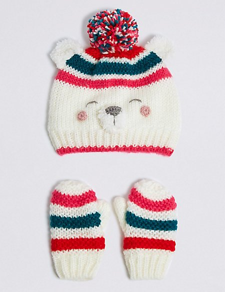 Kids' Novelty Polar Bear Hat & Mittens Set