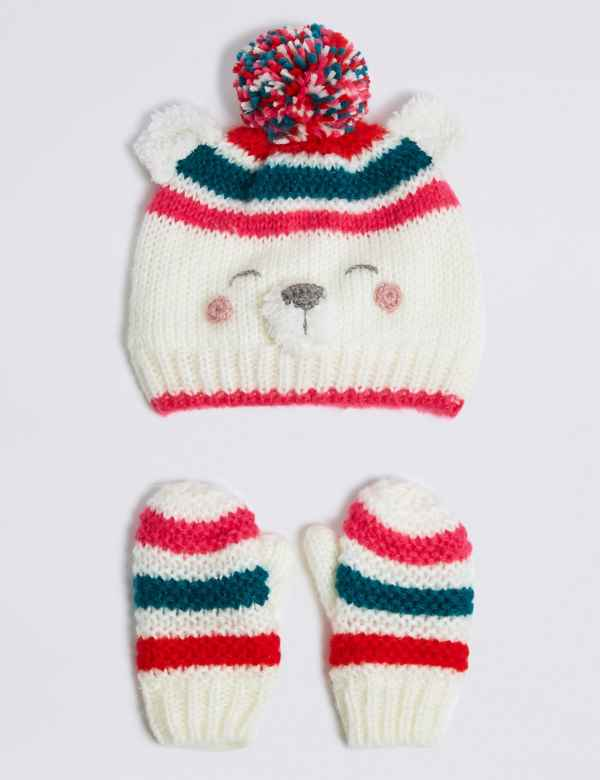 Kids  Novelty Polar Bear Hat   Mittens Set 1f8c30a8d8cf