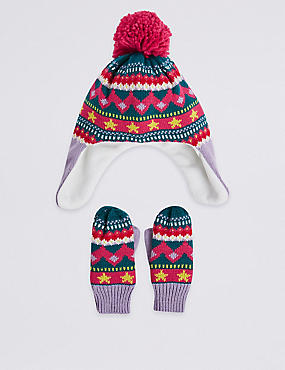 Kids' Fairisle Hat & Mittens Set