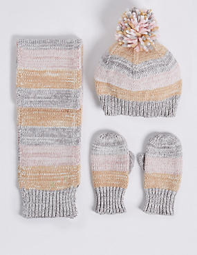 Kids' Striped Hat & Scarf with Mittens Set