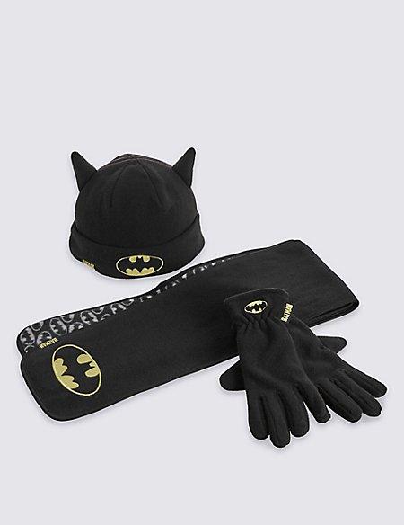 Kids' Batman™ Hat, Scarf & Fleece Gloves Set