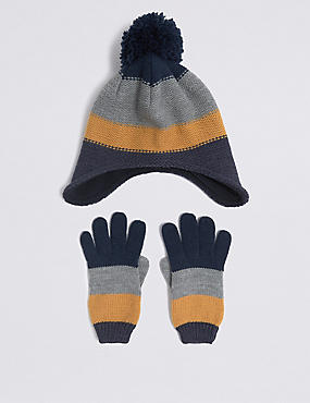 Kids' Striped Hat & Gloves Set, NAVY MIX, catlanding
