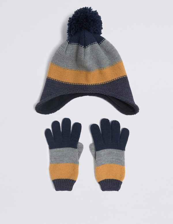 Kids  Striped Hat   Gloves Set 5c0df34ce084