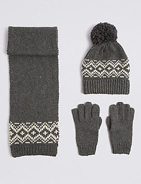 Kids' Hat & Scarf with Gloves Set