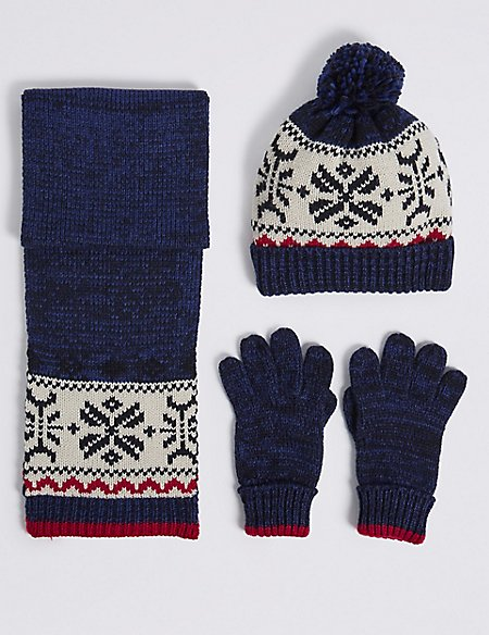 Kids' Fairisle Hat & Scarf with Gloves Set