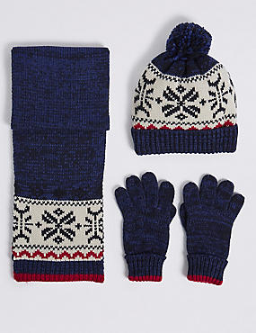 Kids' Fairisle Hat & Scarf with Gloves Set