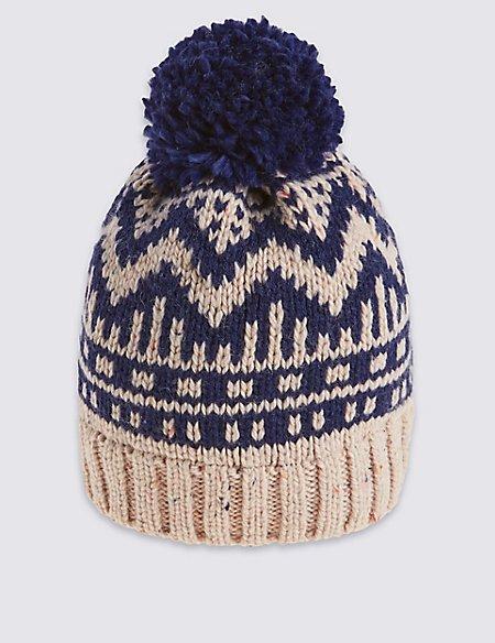 Kids' Fairisle Pom Hat