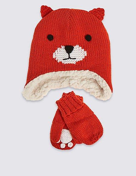 Kids' Fox Hat & Mittens