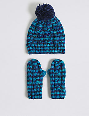 Kids' Striped Hat & Mittens Set