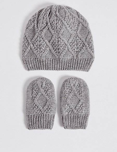 Product images. Skip Carousel. Baby Cable Knit Hat   Mittens Set fbab882885d4