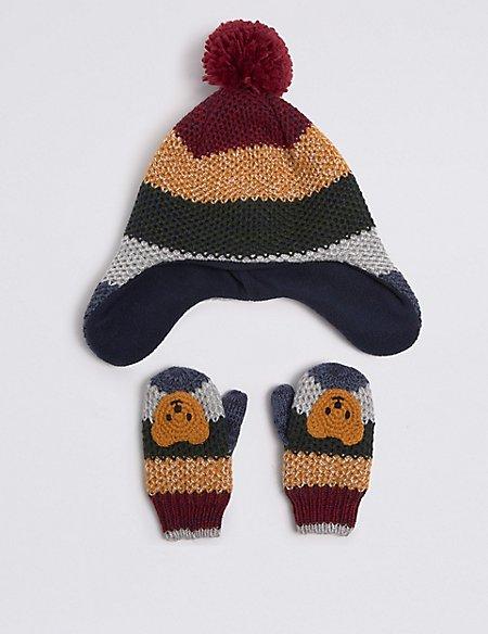 Kids' Novelty Trapper Hat & Mittens Set