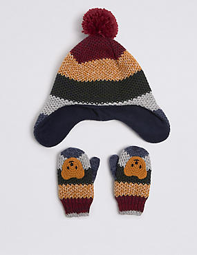 Kids' Novelty Trapper Hat & Mittens Set