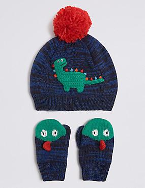 Conjunto infantil de manoplas y gorro de dinosaurios ... 8e70985de73