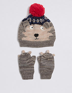 Kids' Hedgehog Hat & Mittens Set