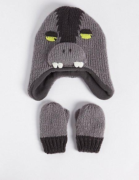 Kids' Monster Trapper Hat & Mittens Set