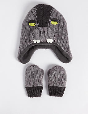 Kids' Monster Trapper Hat & Mittens Set