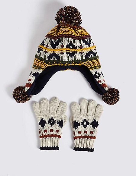 Kids' Fairisle Trapper Hat & Mittens Set