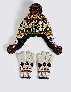 Kids' Fairisle Trapper Hat & Mittens Set