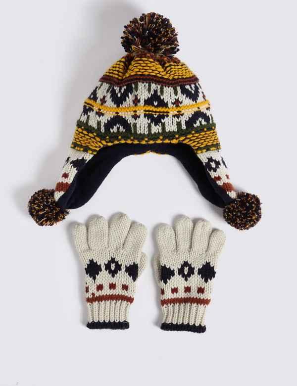 d355d8393b1 Kids  Fairisle Trapper Hat   Gloves Set
