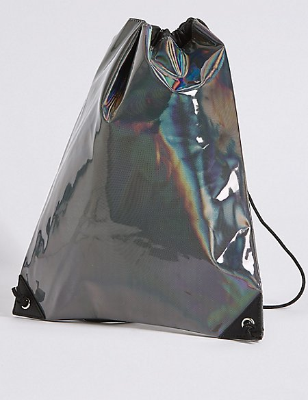 Marks and Spencer Kids Holographic Drawstring Backpack black x1xkYCWGGQ